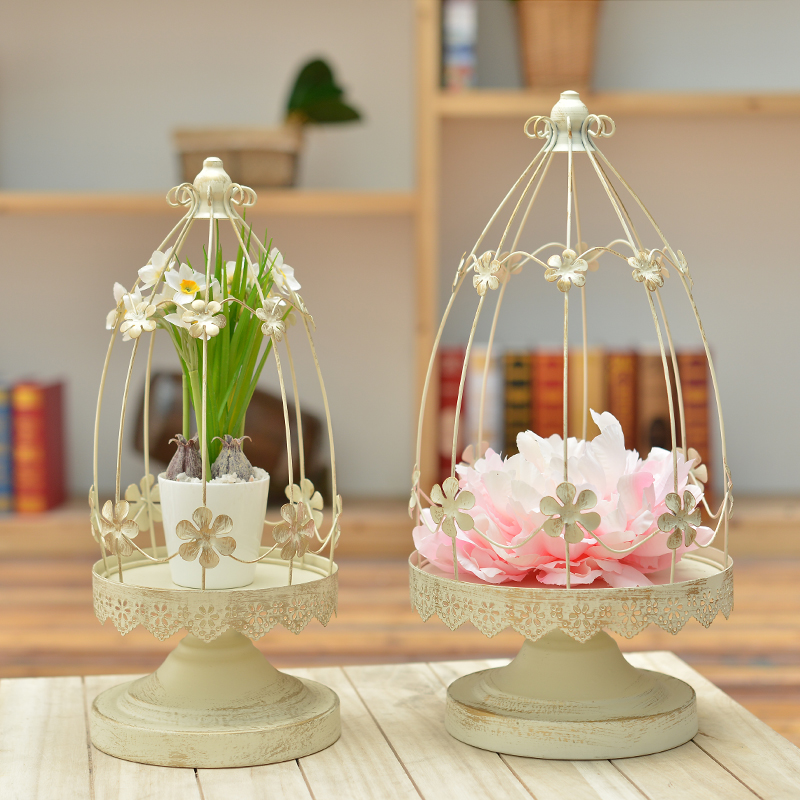 METAL BIRD CAGE CANDLE HOLDER FLOWER VINTAGE HOME WEDDING PARTY DECORATION