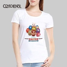 Easter Eggs Bunny printed tshirt women short Sleeve slim tops Modal funny design o-neck T-shirt COYICHENOL