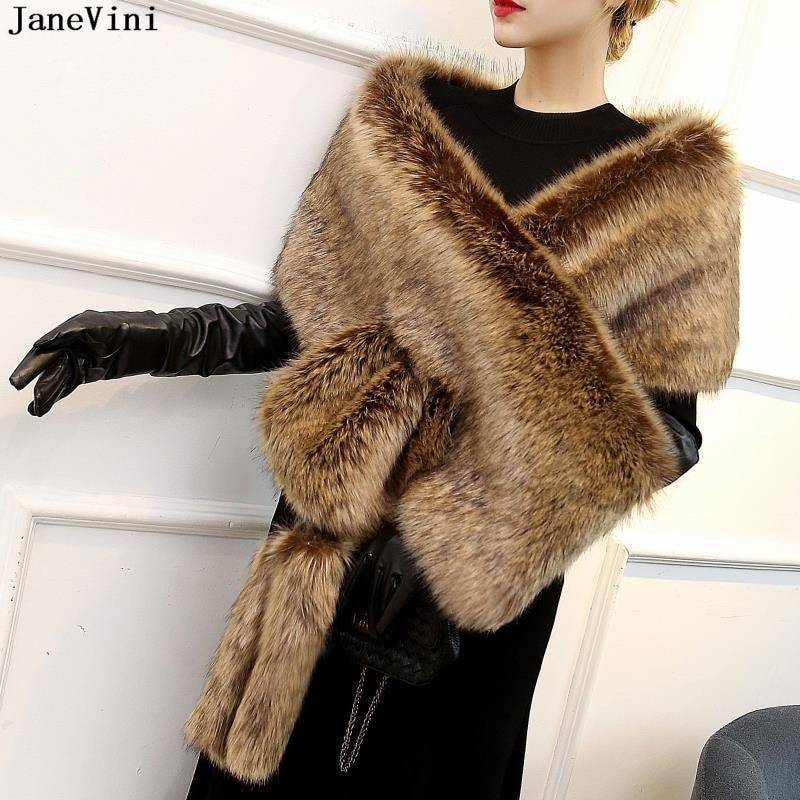 JaneVini High Quality Burgundy Winter Wedding Jackets 2019 Faux Fur Coat Bolero Bridal Shawl Wraps Shrug Warm Wedding Fur Coat