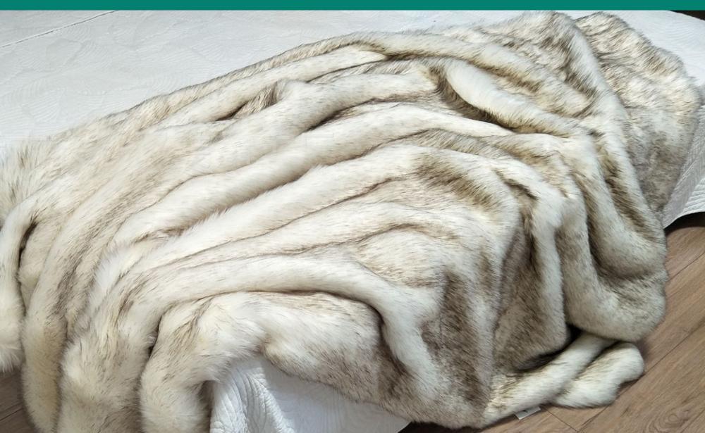 الفاخرة فو الفراء رمي بطانية غطاء السرير المنسوجات المنزلية الفاخرة الحيوان الفراء غطاء السرير بطانية ل أريكة تتحول لسرير-في بطاطين من المنزل والحديقة على  مجموعة 3