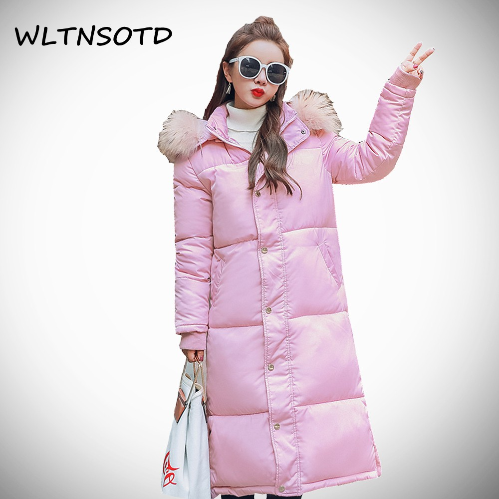 2017 winter new cotton coat women long Slim Hooded jacket Female fashion pocket Big Fur collar Solid warm thick Parkas 2016 new hot winter thicken warm woman down jacket coat parkas outerwear hooded raccoon fur collar long plus size straight cold