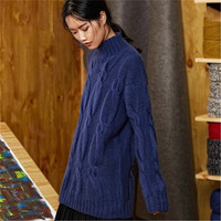 100% шерстяной, ручной работы невысокая горловина вязать Женская мода одноцветное свободные витой полосатый свитер пуловер черный 6 видов цв