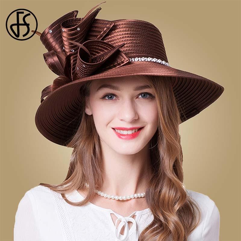 FS marron Rose Fedora chapeau été grand bord soleil chapeaux fascinateurs pour les femmes élégant église fête de mariage Kentucky Derby Boater chapeau