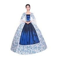 18th Flower Princes Navy Blue Elegant Dress Embroidery Dress Theater Dress Ball Gown Victorian Dress
