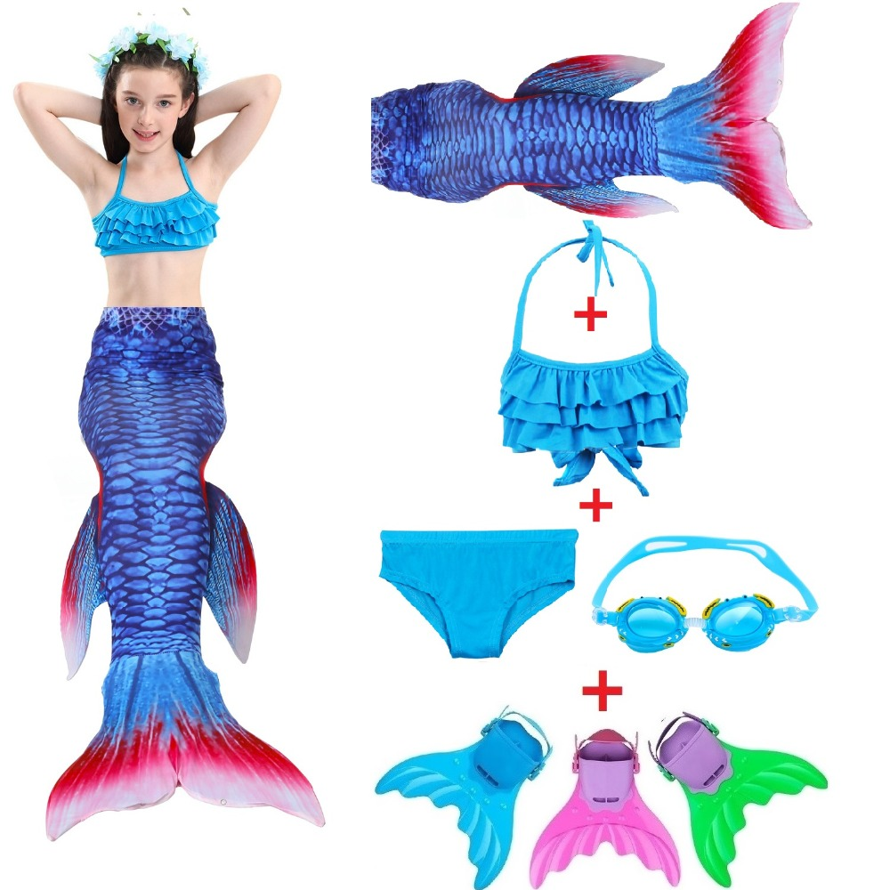 2018 New Ariel Children Mermaid Tail with Monofin Kids Girls Costumes Swimming Mermaid Tail Mermaid Swimsuit Flipper for girls