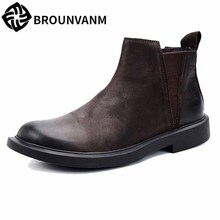 купить autumn winter men's Riding boots men's casual real leather British high-top shoes men Chelsea boots all-match cowhide breathable дешево