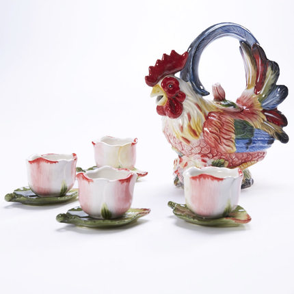 Rooster Kung Fu tea set Zodiac teapot Cup Saucer Set ceramic cup kettle teacup set coffee