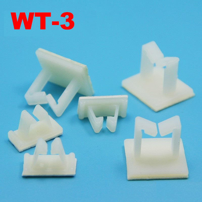 20pcs WT-3 27x18.5 27*18.5mm White Nylon Plastic Self Adhesive Computer Case Wire Cable Fixed Tie Mount Clamp Clip