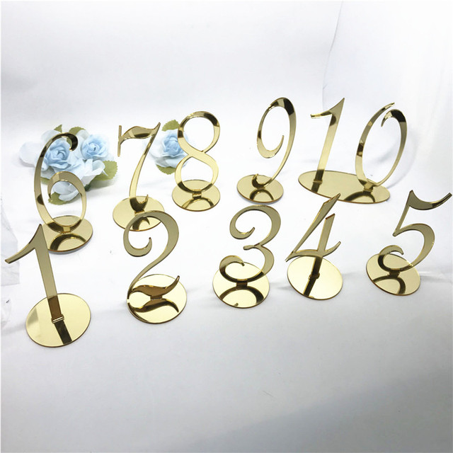 Personalized Wedding Table Number, Acrylic Silver Gold Table Numbers ...