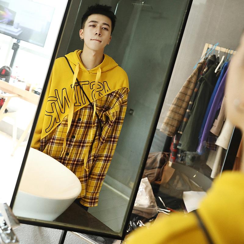 Streetwear Hombre Moda Blue Mens Plaid Casual yellow Manga Bolsillo Larga Pullover Patchwork Hop Sudadera Hoodies Hip purple zUqPOnp