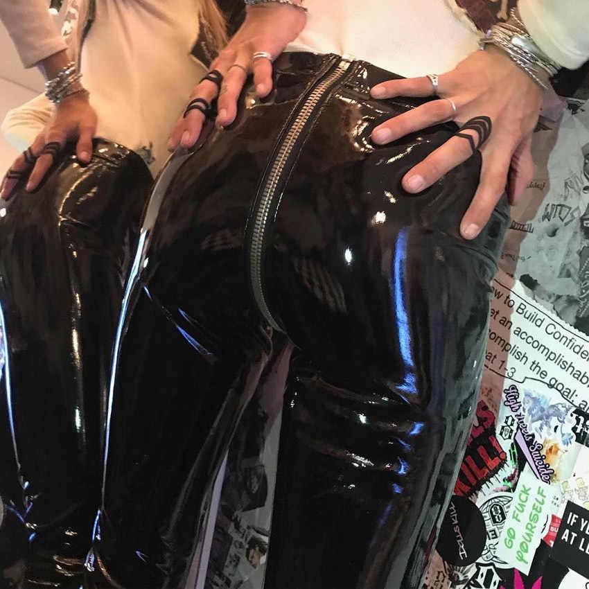 Para Calças PU das mulheres Altas Leggings Elásticas Da Cintura Frontal E Traseira Zipper leggings de couro Slim Para as mulheres Da Moda