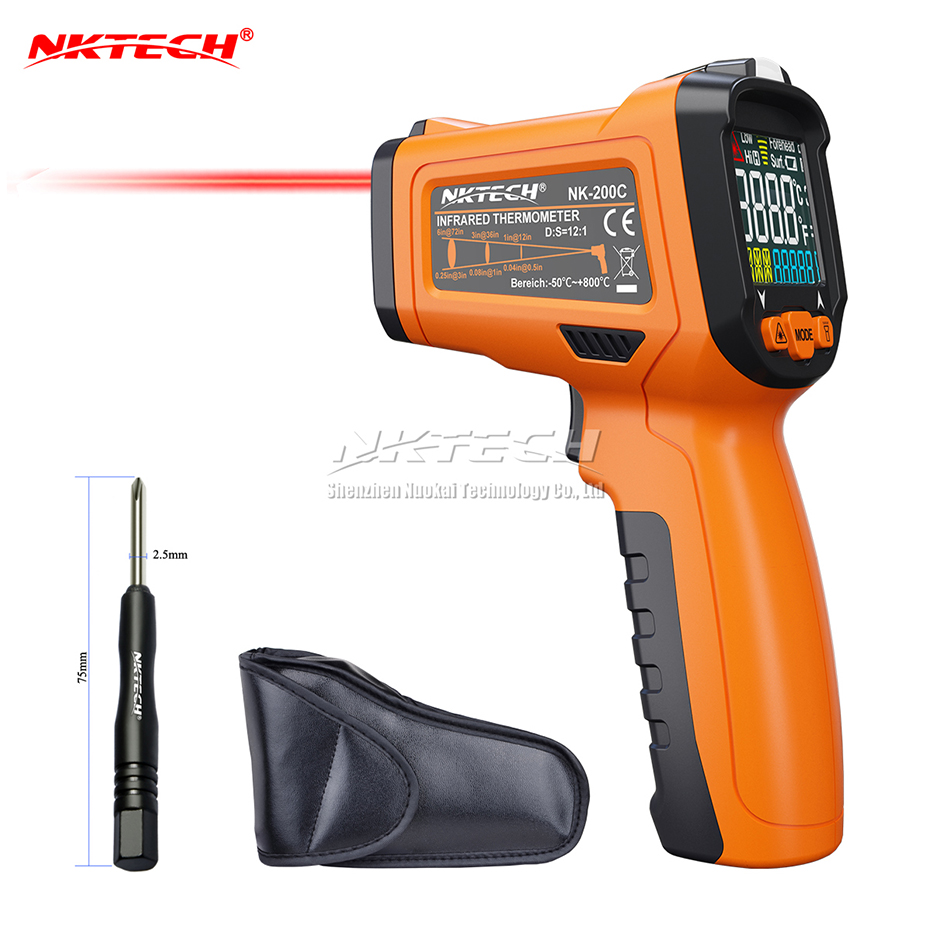 NKTECH NK-200C LCD Digital Laser Infrared IR Gun Thermometer -50~800 Celsius Ambient Temperature Thermocouple K-Type -40~500 tpi 306c 40 150 pen type digital thermometer
