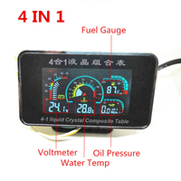4 In 1 LCD 12v/24v Excavator Truck Car Oil Pressure Voltmeter Volt Water Temperature Oil Fuel Gauge With 10mm temperature sensor