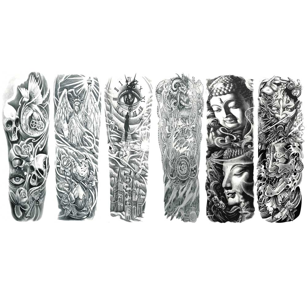 1pc Unisex Waterproof Tatoo Temporary fake Tattoo Stickers kids Body clock wing pokemon flower Full Arm Art Paints For Men Women