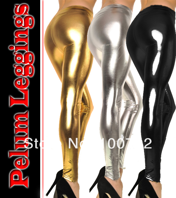74e45cc641b Free shipping hot seller sexy go go fashion metal liquild lame wet look leggings  tights pants dancer stage perform wear