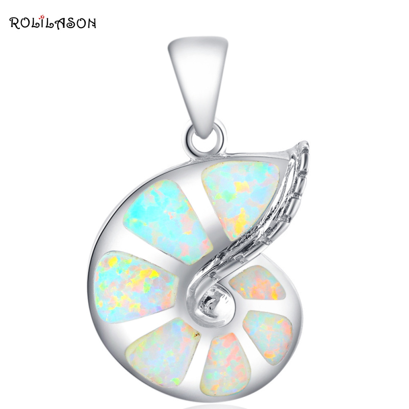 Conch design New White Fire Opal halskjede Pendants for kvinner gave Sølv Stamped 925 Fashion smykker OP416