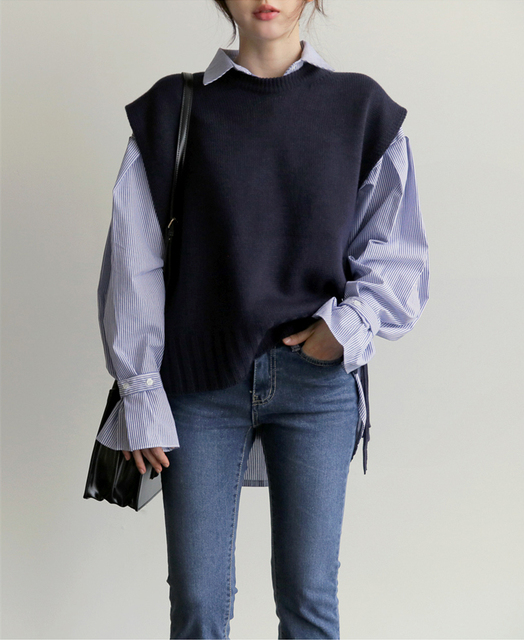 Dệt kim vest Mới OL Lỏng Thường 2018 Mùa Xuân Mùa Thu Phụ Nữ Vest Len Áo Len Áo Áo Ghi Lê Poullovers Không Tay Cổ Chữ V Nữ Vest