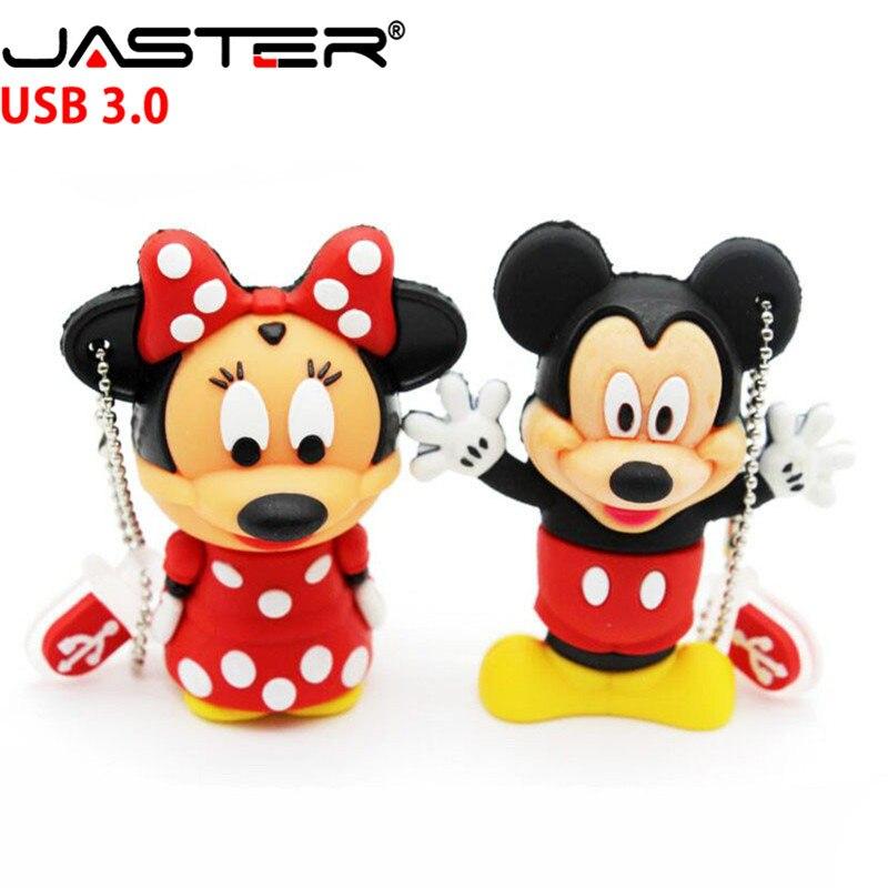 JASTER  3.0 Mouse Mickey And Minnie USB Flash Drive Pen Drive Animal Cartoon Pendrive 4GB/8GB/16GB/32GB/64GB Memory Stick U Disk