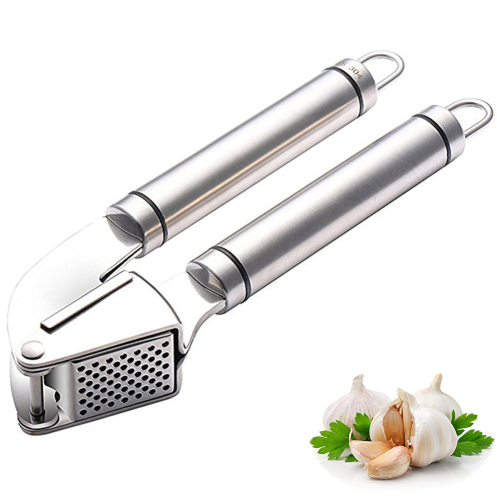 Kitchen Cooking Gadgets High Quality Stainless Steel Garlic Press Presser Crusher Slicer Grinder Vegetable tools
