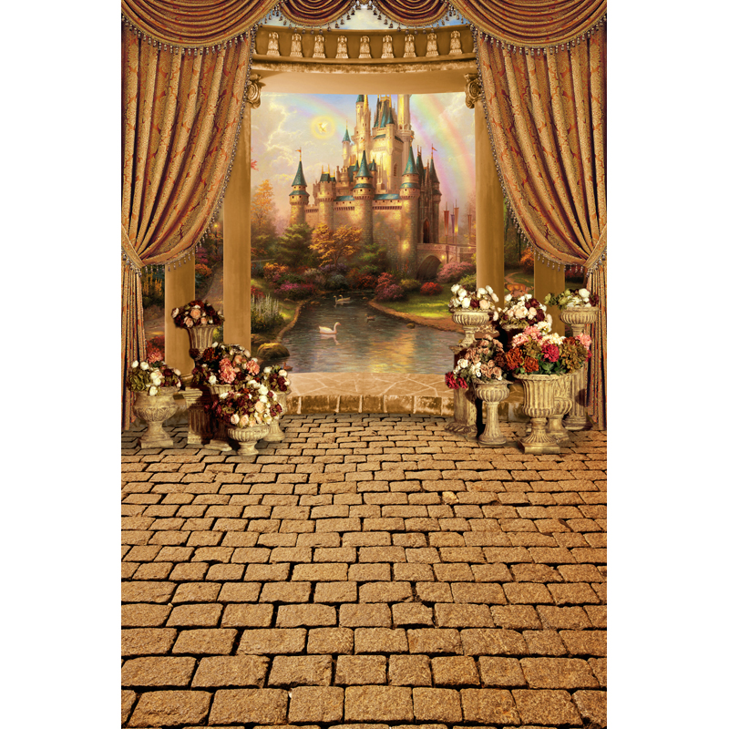 Customized photography backdrops Computer Printing Vinyl cloth background for photo studio castle 7X10ft S206 3x5ft ruins printing brick wall photography backdrops photo studio props vinyl photography background cloth 90 x 150cm