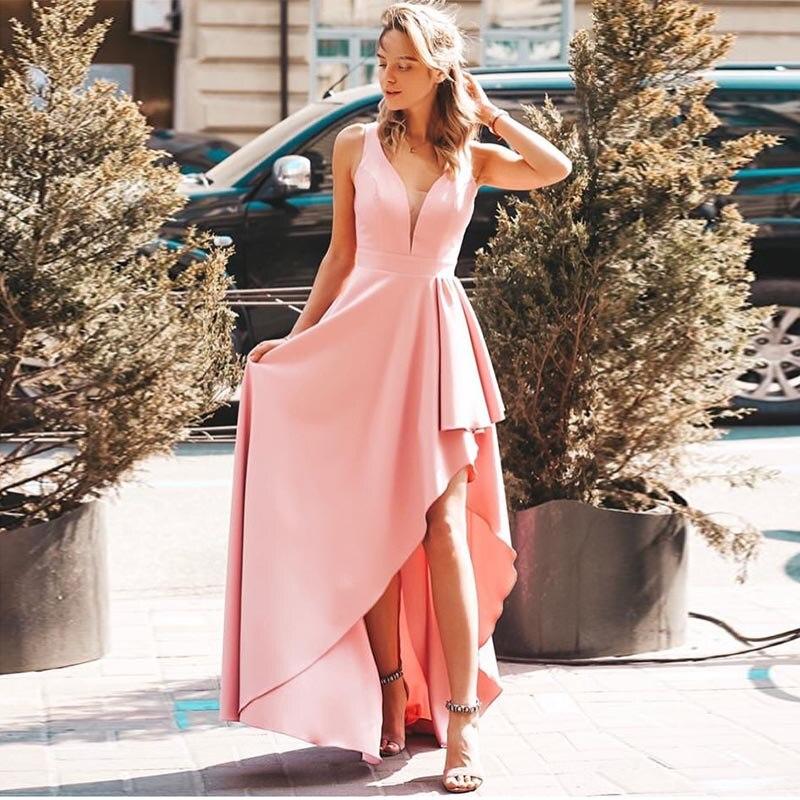 Elegant Rose Pink   Prom     Dress   V-neck Sleeveless Short Front Long Back Robe De Bal Elastic Satin Light Blue Robe De Soiree