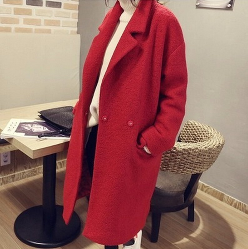 Retro Winter Army Green Red Outerwear Lapel Long Double Breasted Warm Overcoat Wool Coats Duffle Coat for Women Ladies 2016 new warm winter coats for women european high end slim belt long double breasted lapel women s long down jacket winter