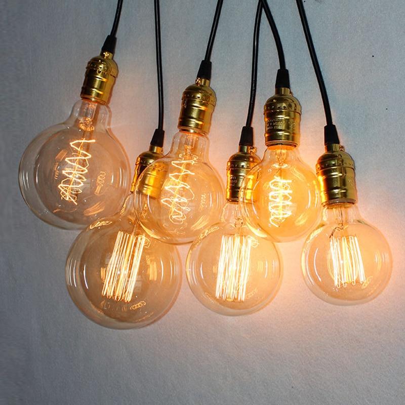 Vintage E27 Edison Bulb Retro Lamp G80 G95 G125 40W Incandescent Light bombillas Squirrel cage Decorative