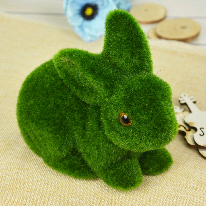 christmas gifts green moss rabbit artificial flower plant fake cute table decoration home decorative simulation animal tufting in artificial dried flowers