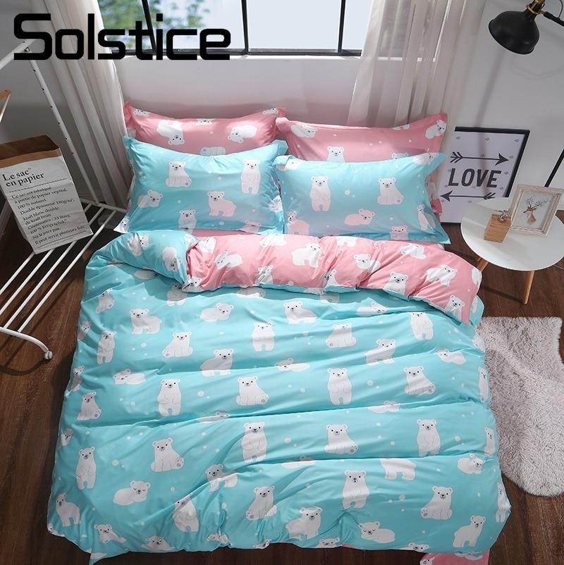 Solstice Home Textile 3/4Pcs King Twin Bedding Sets Girl Child Teen Bed Linen Polar Bear Blue Pink Duvet Cover Sheet Pillow Case