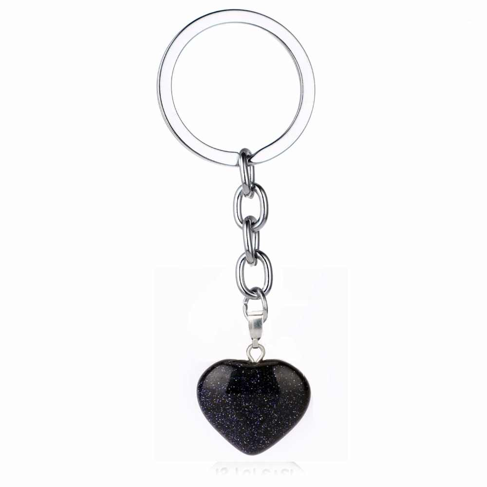 ร้อนอัญมณีควอตซ์ Tiger Eyes หินธรรมชาติ Love Heart Charms พวงกุญแจของขวัญผู้หญิงผู้ชายครอบครัวเพื่อนพวงกุญแจเครื่องประดับ Key ผู้ถือ