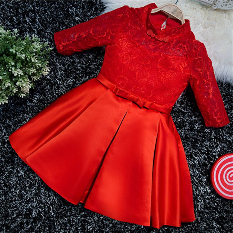 Red Flower Girl Dresses Half Sleeve Kids Pageant Dress Birthday Show Costume Ball Gown Girls Formal Dress Lace Party Gowns