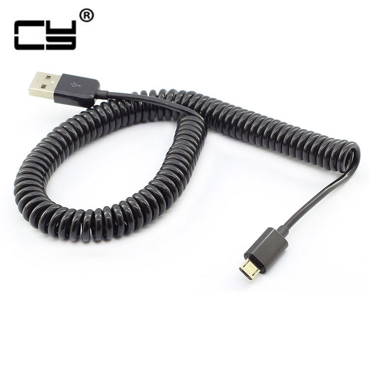 3M/10FT Micro Usb Spring Coiled Cable Extension Portable Retractable Usb Data Charger Cables For Mobile Phone Cord Coiled Cabo