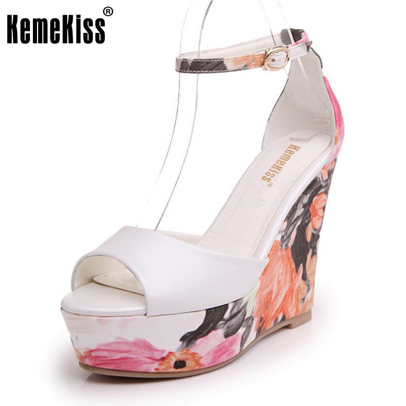 KemeKiss Ladies High Wedges Sandals Print Ankel Strap Summer Shoes Women Peep Toe Platform Beach Vacation Footwear Size 34-39 phyanic 2017 gladiator sandals gold silver shoes woman summer platform wedges glitters creepers casual women shoes phy3323
