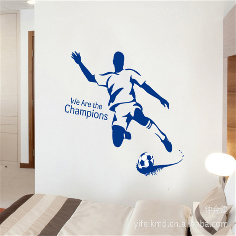 top selling we are the champions football removable living room sofa waterproof pvc diy mural decal