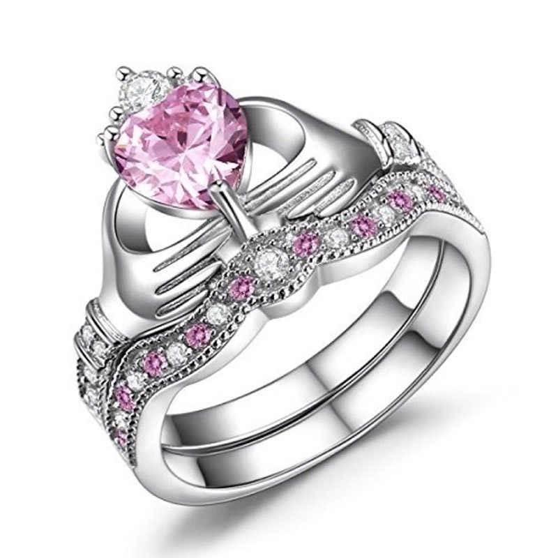 Anillo de pareja azul para hombres mujeres Color plata Azul zafiro boda Corazón de dos piezas conjunto de anillo de mano corazón