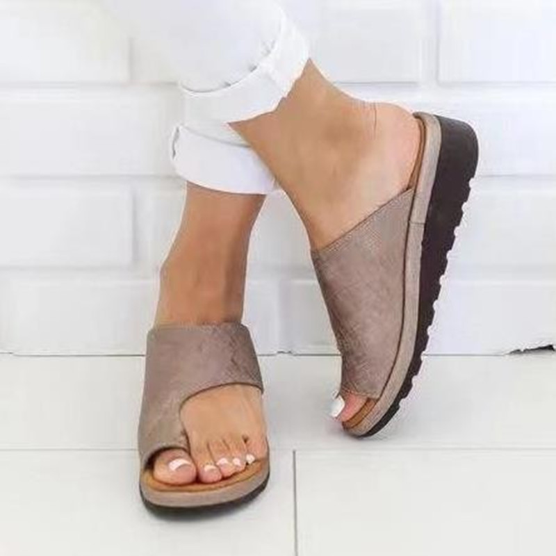 Sandal-Shoes Platform Feet-Correct Flat-Sole Comfy Women Thickened Street PU Dating