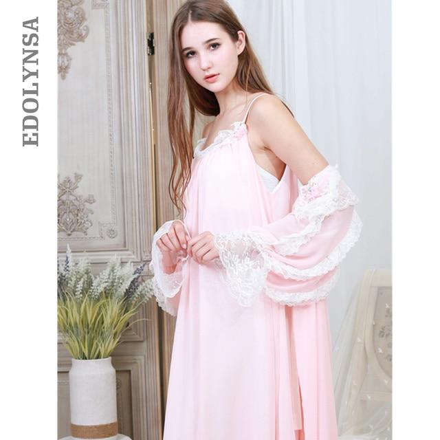 d10471fec Pink Robe Gown Set Autumn Vintage Women Sleepwear Sexy Peignoir Negligee  Set Night Wear Cotton Bathrobe