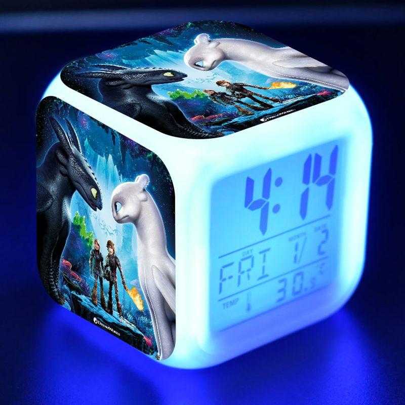 Cartoon Figuras Toothless Led Colors Flash Light Desk Alarm Clock How To Train Your Dragon 3 The Hidden World Anime Figure Toys