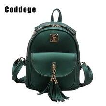 Кисточкой женщины рюкзак новые модные повседневные из искусственной кожи женский рюкзак для девочек-подростков школьная сумка одноцветное небольшой рюкзак