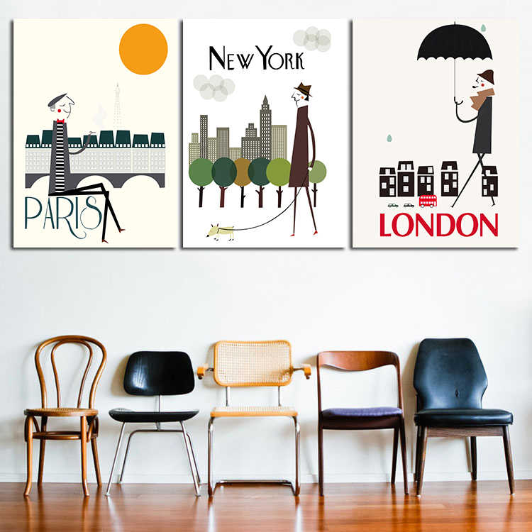 Modern Abstract Huge Wall Art Oil Painting On Canvas Print For 3 Pieces Combination I Love Paris New York London City No Frame
