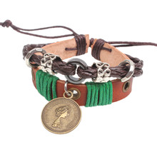 2016 New Wrap Bracelets Braid Leather Knot Bracelets With Queen Coin Couple Jewelry bracelets for women sieraden Pulseiras(China)