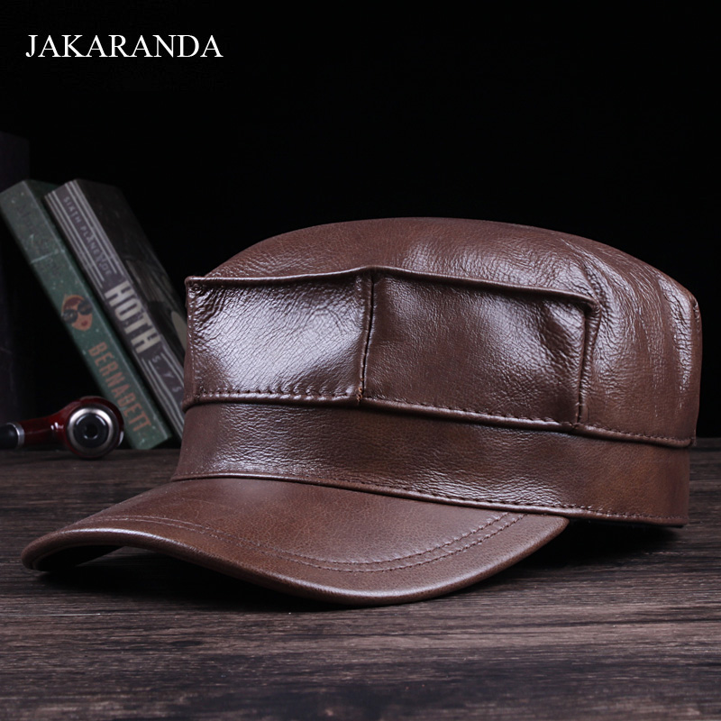 RY109 Male Genuine Leather Fitted Navy Hats Real Cowhide Windproof Ear Head Warm Black Brown Army