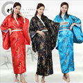 Японские Кимоно Платье 3 Цвета Женщины Шелкового Кимоно Японские Кимоно Юката Платье с Оби Винтаж Японский Традиционный Dress17