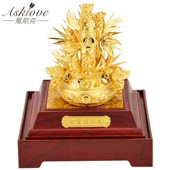 Asklove Gold foil 3D Wealth Bamboo ornaments Feng shui Bonsai Bortunate Gold ornament opening gifts Home Decoration accessories