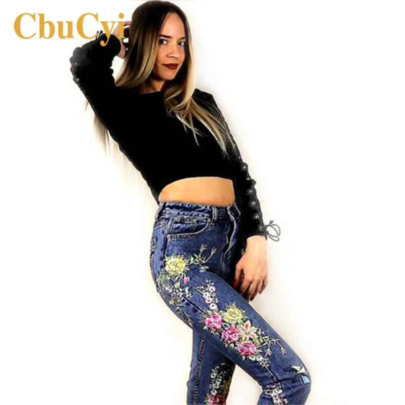 CbuCyi Women Clothes Denim Pants Flowers Embroidery Long Straight Blue Jeans Pants Female High Waist Jeans Leggings Trousers