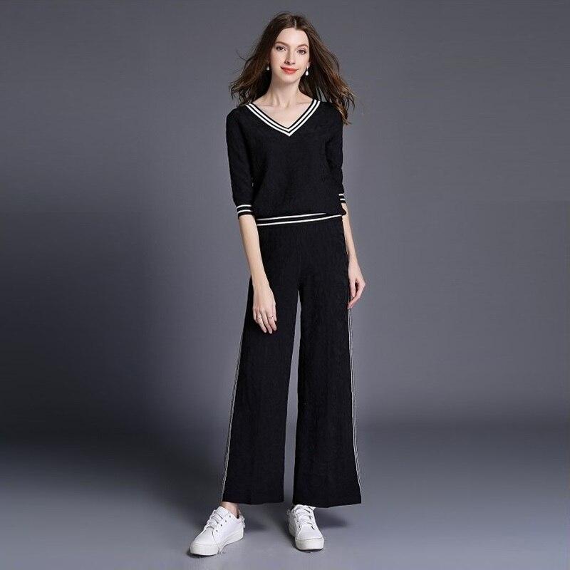 2018 Chandail Tricoté cou Hiver White black En Costumes Automne Pantalon pièce Deux Pull Ensemble Femmes V Survêtements Droite Tricot Nouveau Pour r8r14