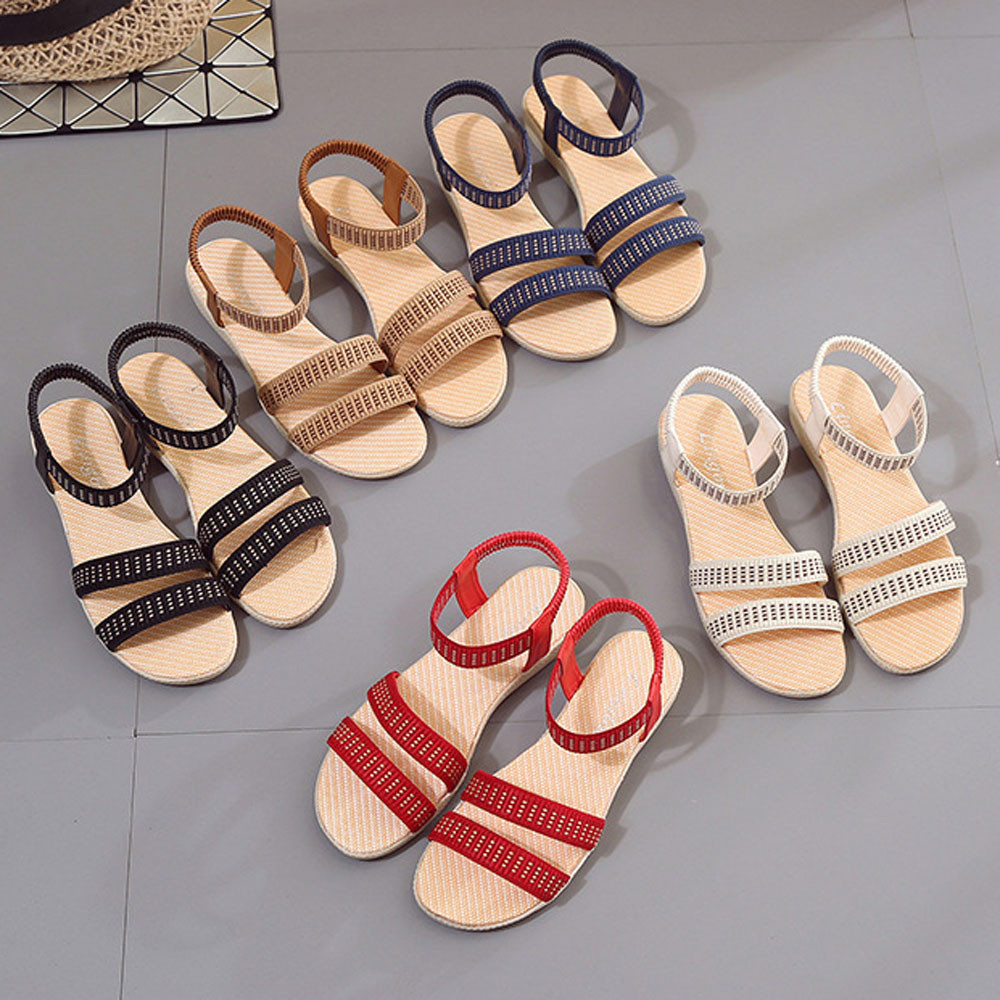 Women Flat Shoes Elasticity Bohemia Leisure Lady Sandals Peep-Toe Outdoor Shoes 2017 fashion sandals comfortable ladies shoes 2016 women s clothing fashion in europe and the atmosphere bohemia elasticity knitted cultivate one s morality dress