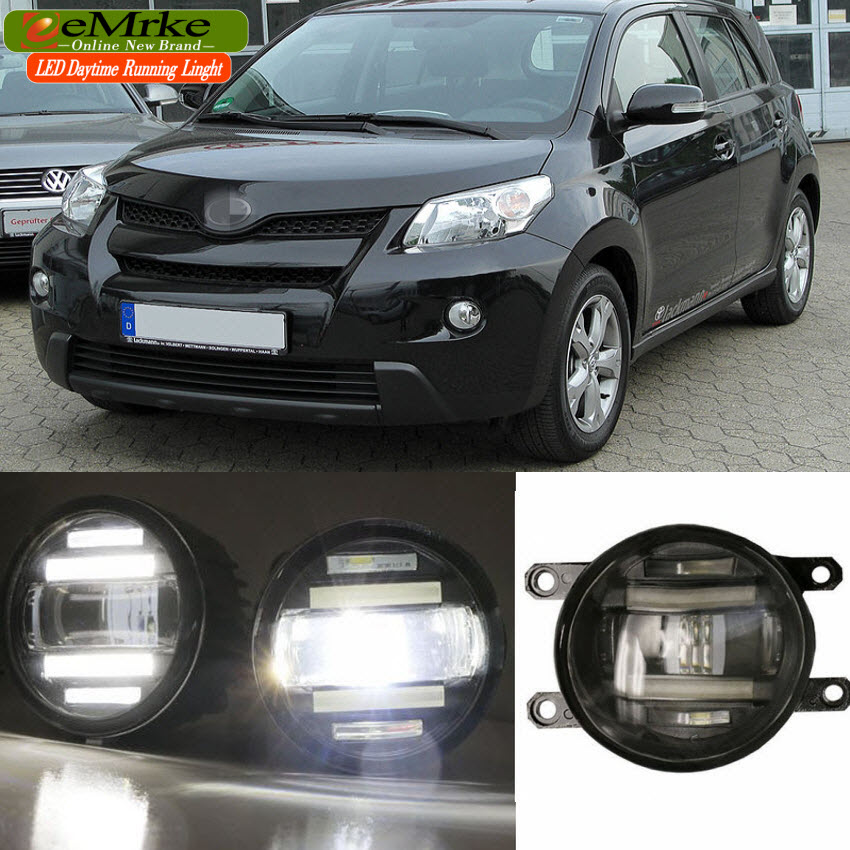 eeMrke Xenon White High Power 2in1 LED DRL Projector Fog Lamp With Lens For Toyota Urban Cruiser XP110 2006-up