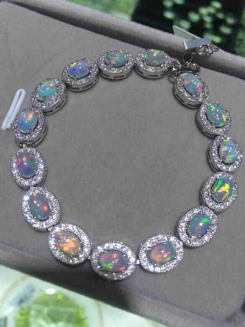 Natural Multicolor Opal Bracelet Gemstone 925 Silver Clic Elegant Luxurious Round Women Jewelery