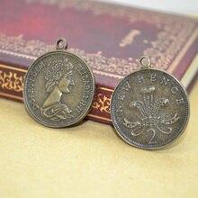 """8 шт. монета подвеска под бронзу, старину круглый металлический кулон """"сделай сам"""" для изготовления ювелирных изделий, 28*24 мм 14112"""